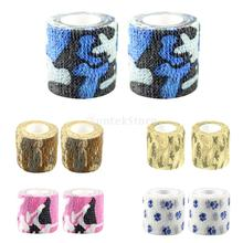 1 Pair Self-adhesive Wrist Ankle Joints Wrap Bandage Tape Camouflage/ Paw Print
