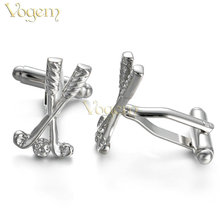 VOGEM Golf Cufflinks For Boys Casual Sports Glossy Silver Ball Cuff Buttons High Quality Jewelry Son Father Christmas Present
