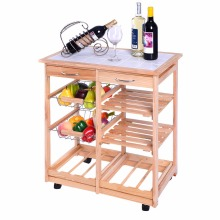 New Rolling Wood Kitchen Trolley Cart Dining Storage Drawers Stand Durable HW49745NA(China)