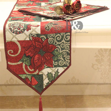 2 PCS/lot Christmas Style Table Runner Wedding Bed Tapestry Table Cloth Dining Mat Bed Flag TV Cabinet Cloths Cover Table Decor