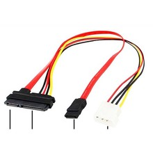SATA Combo 15Pin Power and 7 Pin Data Cable 4 Pin Molex to Serial ATA Lead