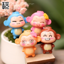 Cartoon Monkey Lover Miniature Figurines For Terrarium Micro Landscape Accessories Mini Garden Decoration Action & Toy Figures(China)