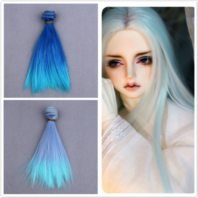 Doll Lake Green Long Wave Wig Hairpiece Toy Head Hair for Dolls 15cm Wig