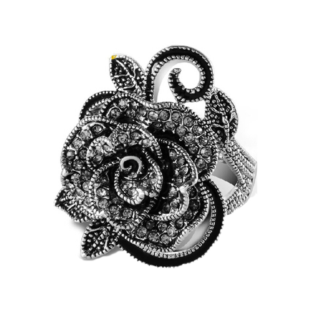 Wholesale 2017 retro fashion accessories unique silver plated Rose rings compatible woman