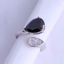 Love Monologue Elegant Black imitation Onyx Teardrop Shape Ring Silver Color Jewelry J0562 Size 6 / 7 / 9 Free Jewelry Bag