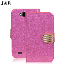 "Bling case for ZTE GF3 leather cover Diamond Stand Holder Card Flip case  For ZTE Blade GF3 GF 3 4.5"" Mobile Phone Bag&Wallet"