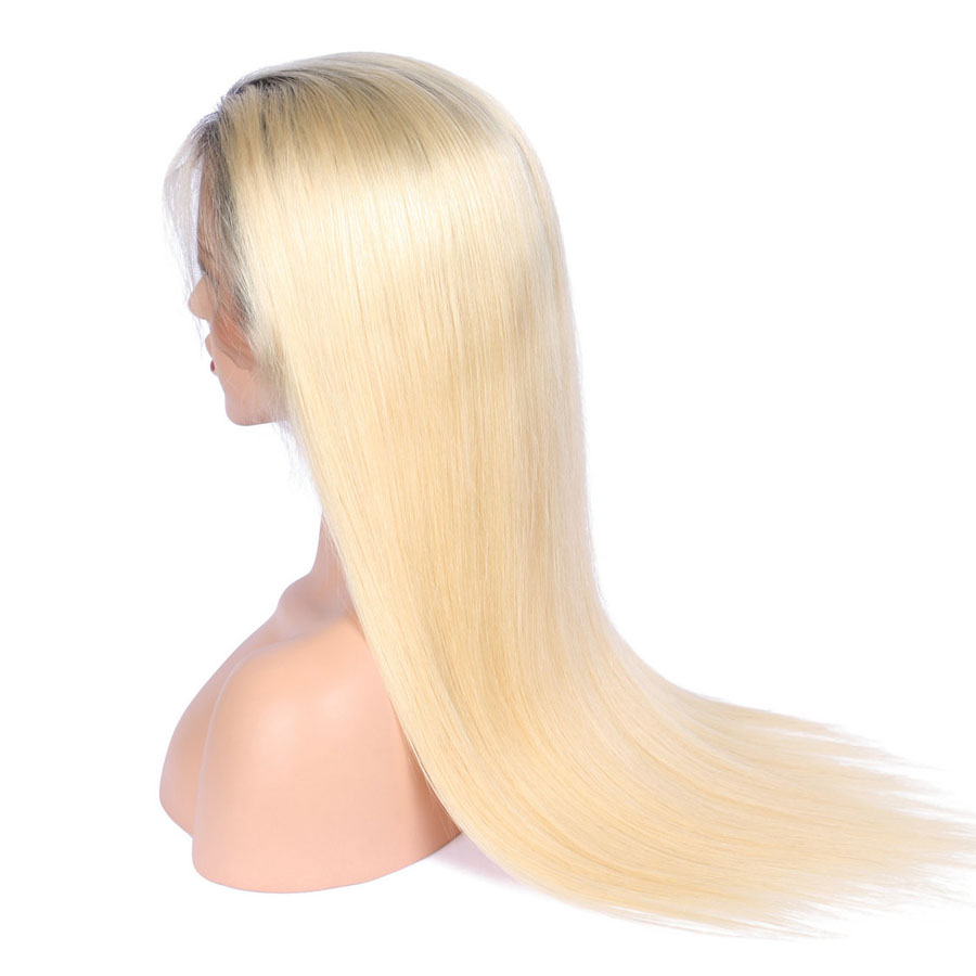 BEEOS #1bT#613 Glue Full Lace Wig With Baby Hair Pre Plucked Remy Ombre Blonde Human Hair Wigs Bleached Knots Average Cap (4)