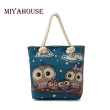 Miyahouse Summer Canvas Beach Bag Female The Owl Family Printed Tote Hangbags Women Casual Lady Shoulder Bag Canvas Tote Women