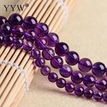 Natural Amethysts Stone Beads February Birthstone 6/8/10/12mm Round Ball Beads Strand Purple Crystal Quartz Stone Beads DIY(China)