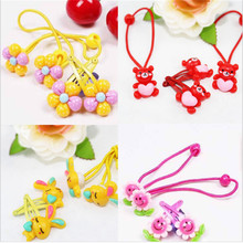 AKWZMLY Cute Elastic Hair Band Flower Small Hair Clip Headband Girls Hair Accessories Polyester Kids Rubber Resin Hairpins 4 Pcs(China)