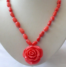 Hot sell Noble- hot sell new - HOT2675 stunning pink baroque natural coral necklace flower Pendant
