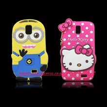 Cute 3D Silicon Minion Hello Kitty Cartoon Soft Phone Back Skin Cover Case for Lenovo A328 A328T