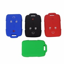 4 Buttons Silicone Car Key Cover Case Fit For Cadillac /Chevrolet Silverado /GMC Sierra Car-styling No Logo