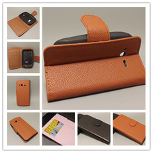 For HTC G13 Wildfire S A510E Luxury Litchi leather case cover stand function for with 2 Card Holder and pouch slot free shipping