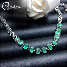 Classic silver emerald bracelet 12 pcs 3 mm * 5 mm natural I grade emerald bracelet solid 925 silver gemstone bracelet(China)
