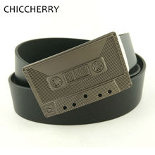 New Men's Belt Luxury Brand Country Western Music Magnetic Tape Metal Belts Buckle Cintos Masculinos PU Leather Cinturon Hombre