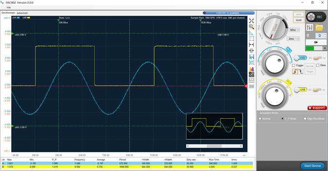 Win8 Win10 Win 7 Oscilloscopio digitale dati di campionamento 50M con supporto XP OSC482 PC 2 canali Larghezza di banda 20Mhz Multimetro virtuale per mini storage portatile oscilloscopio