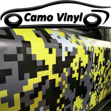 Car Styling Yellow Digital Camo Vinyl Wrapping Pixel Camouflage Car Wrap Vinyl Sticker Film Car Body Covers Air Bubble Free