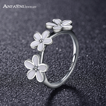 ANFASNI 2017 Fashion Darling Daisies Stackable Ring With White Enamel Women Collection Fine Fine Jewelry PSRI0028-B