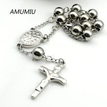 AMUMIU 20CM*8MM Fashion Metal Simple Beads Bracelets Rosary 316l Stainless Steel For Women Jewelry NEW ITEM HZB053W8