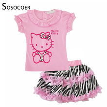 SOSOCOER Girls Clothing Set Cartoon Cat T Shirt Leopard Zebra Skirt Summer Children Clothing Outfits Kids Girls Clothes Sets(China)