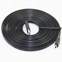 5M 16FT Flat Noodle Mini 5P Cable USB2.0 Type A Male to Mini 5P Male Foil Braided For MP3 4 5 Black Pure Copper(China)