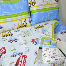 Free shipping 100%cotton kids children bunk bed cartoon anime bedding set trucks cars buses 3pcs twin size sheet, duvet cover