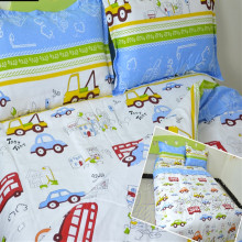 Free shipping 100%cotton kids children bunk bed cartoon anime bedding set trucks cars buses 3pcs twin size sheet, duvet cover(China)