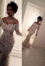 mermaid Luxury Lace Appliques Bling Bridal Gowns Elegant Feathers wedding dress 2016 robe de mariage