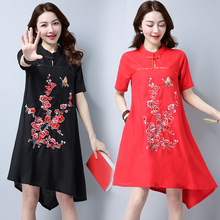 women clothing 2017 spring summer style korean vestidos China national wind restore embroidery flower thin dress female A3525(China)