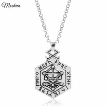 MQCHUN 2017 Handmade Norse Viking Odin Yggdrasil Armanen Runes Metal Pendant Vintage Tree of Life Long Tibetan Necklace Jewelry