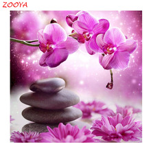 DIY diamond painting cross stitch Needlework diamond mosaic diamond embroidery flowers orchid   pattern hobbies and crafts