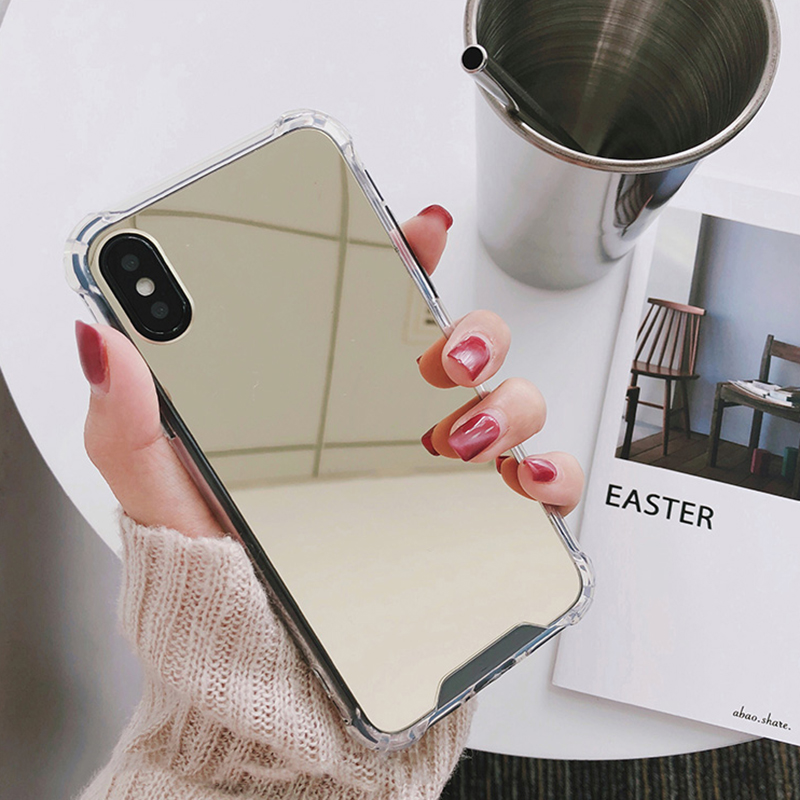 Luxury Mirror case For iphone XS Max XR Cover silicone soft TPU shockproof case for iPhone 6 6s 8 7 plus X coque women makeup (6)