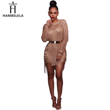 Buy Hambelela Women Sexy Crochet Mini Dress Knitted Bodice Shred Detail Long Sleeve O-Neck 2017 Latex Sexy Ladies Sweater Dress