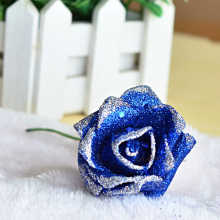Single Branch Blue Enchantress Artificial Roses Glitter Flowers Valentine's Day Special 6-7CM Simulation Rose Head Wedding Decor