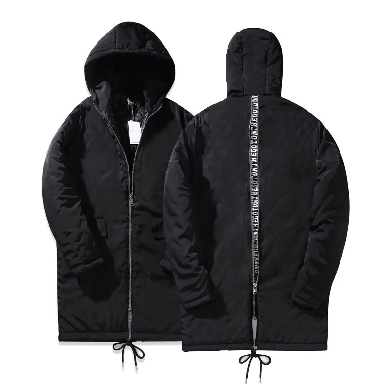 Letter Printed Back Zipper Mens Coat With Hoody 2017 Winter New Long Design Cotton Padded Down and Parkas Coats for Men Одежда и ак�е��уары<br><br><br>Aliexpress