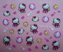 Mix Order: $0.7 XF325 Free Shipping Brand 3D Design Tip Nail Art Hello Kitty Nail Stickers Decals Carving Nail Art Decorations