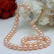 8-9mm Pink freshwater pearl necklace 18 inches DIY flower button women jewelry making design gift(China)