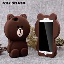 BALMORA Cute Bear 3D Rubber Phone Cases for iphone 4 4s S Se 5 X Soft Silicon Cartoon Cover for iPhone 6 6S Plus 7 8 7plus 8Plus(China)