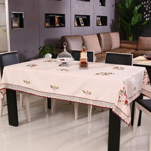 Pastoral Country Floral Cotton Embroidery Table Cloth for Rectangle Dinning Tables / Hand made Beige Tablecloth for Round Tables