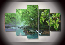High Quality Modern Painting by Numbers Green Pictures for Living Room Decoration Wall Art Canvas Unframed 5 Pieces