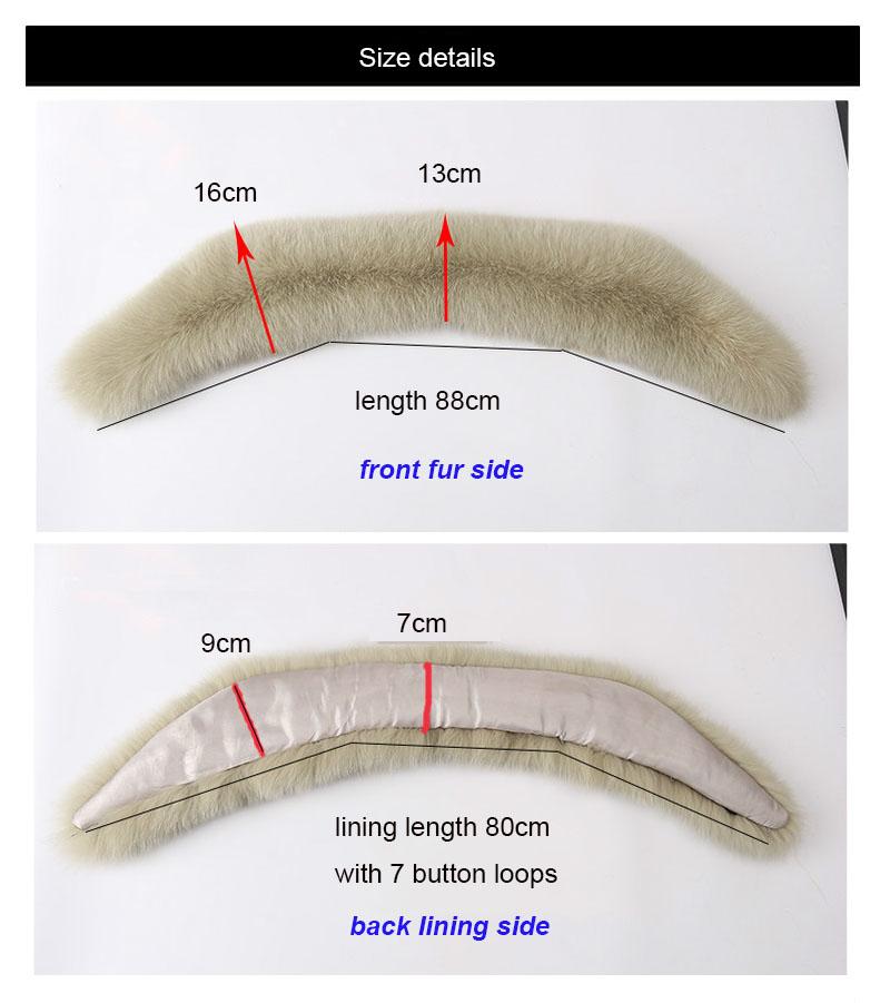 fur collar size