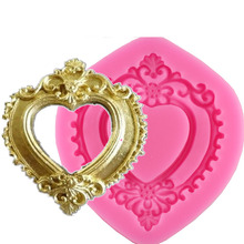 Vintage Love Heart Shape Mirror Frame 3D Silicone Mold Fondant Chocolate Molds Cake Decorating Tools F0730(China)