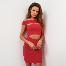 Sexy women's Slim plus size one shoulder exposed navel party elastic knee-length dress buy one to send a with the same(China)