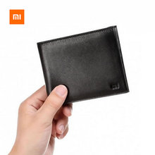 Original Xiaomi Wallets Men Full Grai Leather Fashion Short Purse Man Woman Stylish Cowhide Pocket Classic Money Holder Mi Purse(China)