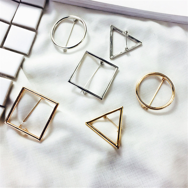 Geometric simplicity triangle women adorn article brooch brooch Fashion circle brand jewelry brooch Popular girls beautiful gift(China (Mainland))