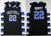22# Black Basketball Movie Jersey Men's One Tree Hill Scott Stitched Basketball Shirt Jersey Cheap Throwback Jerseys Sleeveless