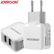 JOYROOM Dual 2 Ports Travel USB Phone Wall Charger Adapter 5V/2.4A EU Plug Universal Mobile Phone Charger For iphone Samsung LG(China)