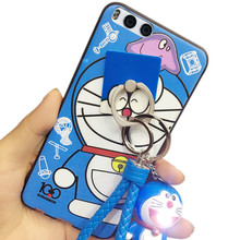 For Xiaomi mi 6 case with Lanyard Cartoon Cat Doraemon full coverage protector Fitted Case for xiaomi mi 6 Plus case with Ring(China)