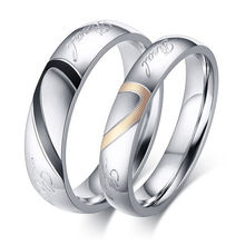 Titanium Steel Half Heart Simple Circle Real Love Couple Ring For Men Women Wedding Engagement Promise Rings(China)